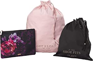 Ted Baker Splendor Pink Floral 3-Piece Travel Laundry & Shoe Storage Bags, Multi