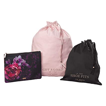 1a977157edee7 Ted Baker Splendor Pink Floral 3-Piece Travel Laundry   Shoe Storage Bags  Multi