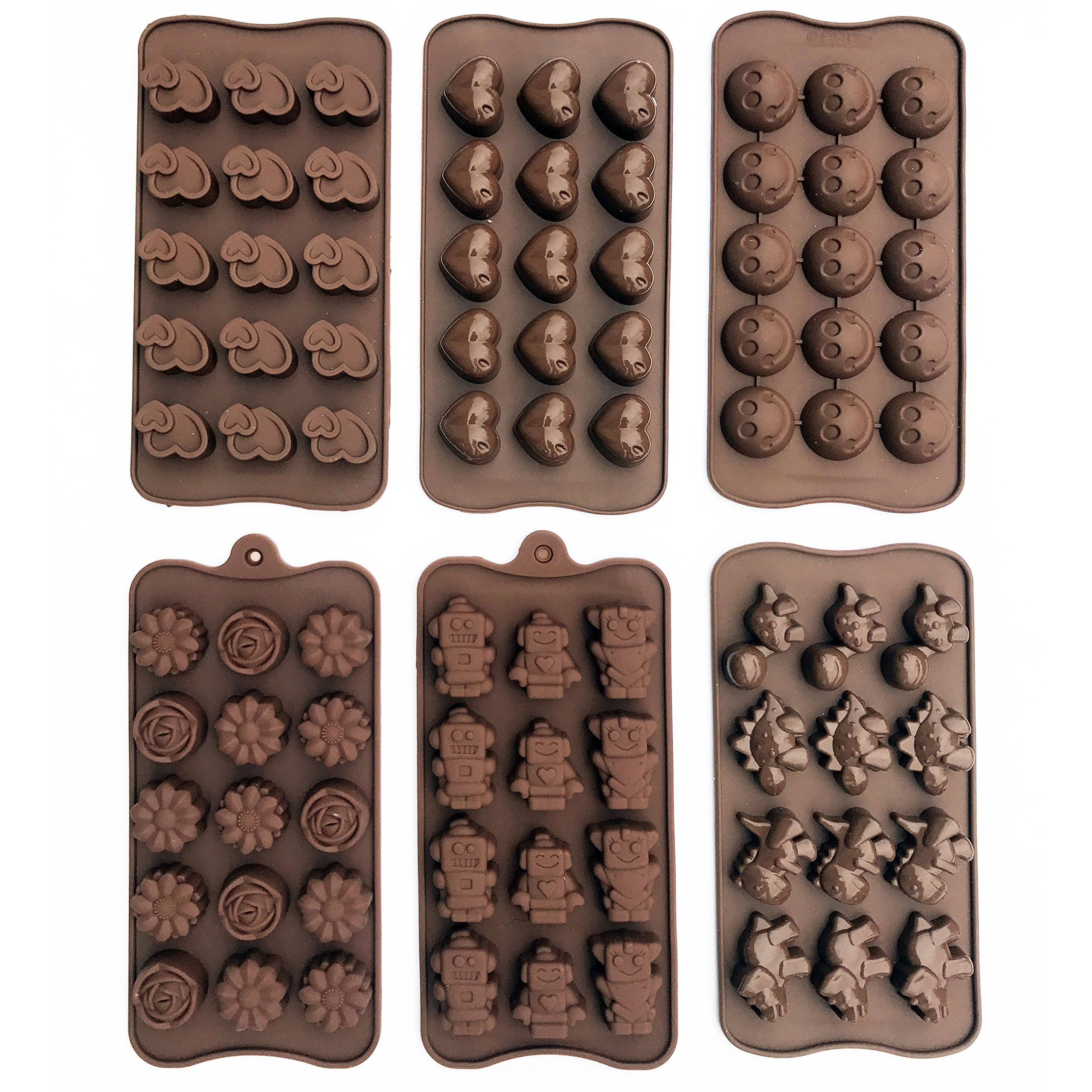 6-PACK Silicone Gel Non-stick Chocolate, Jelly and Candy Mold, 15 Cavities Each, Bon-Bon Cake Baking Mold (Set of 6, Different Styles) by Talented Kitchen