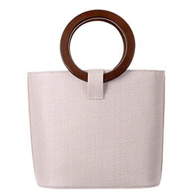 58d9184bbf1f Amazon.com  QZUnique Women s Solid Straw Bucket Bag Tote Handbags Shoulder  Bags Big Handbags Top Handle Straw Bag  Shoes