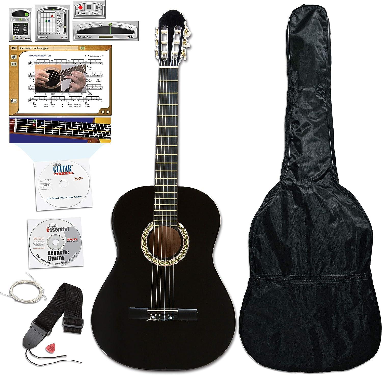 eMedia esencial Pack de guitarra, tamaño completo, negro: Amazon ...