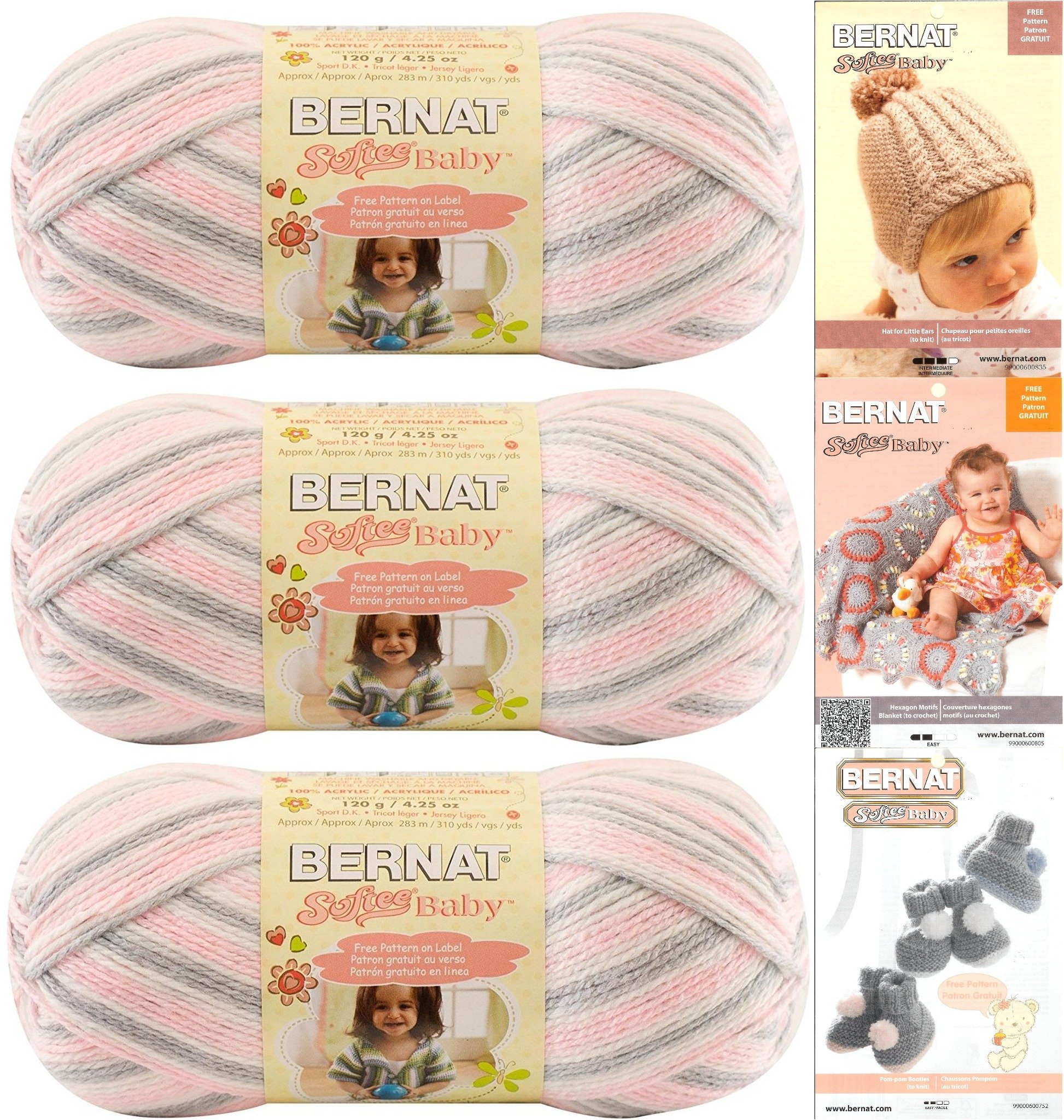 Bernat Softee Baby Yarn 3-Pack Pink Flannel Bundle Includes 3 Patterns Pink Gray White by Bernat (Image #1)