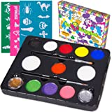 Bo Buggles Face Paint Kit with 30 Stencils, 9 Paints + 2 Glitters Original Buggly Kit By Kids: Large 4 gram Professional Paints, 2 Brushes, 2 Sponges. Pro-Quality Non-Toxic Face Painting Palette