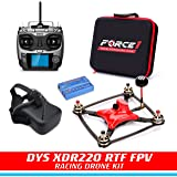 FPV Drone Racing Kit - DYS XDR220 RTF FPV Carbon Fiber Racing Drone | RC Quadcopter with HD CCD Camera, SP F3 Flight Controller | Radiolink AT-9 Transmitter | FPV Goggles | Balance Charger