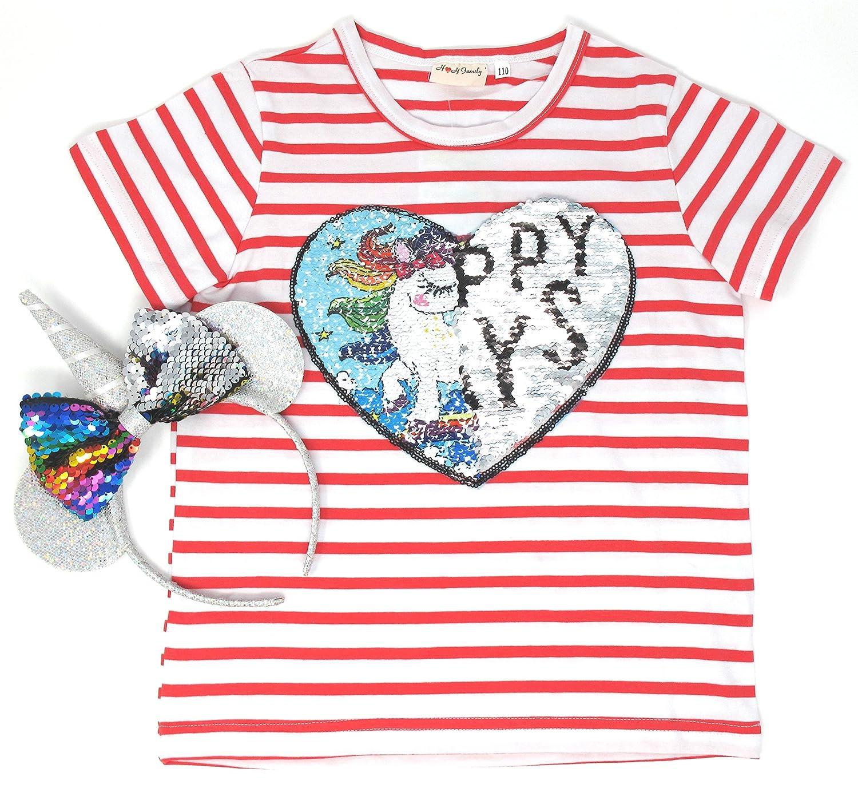 Unicorn Flip Heart Sequin Girl's T-Shirt with Flip Sequin Unicorn Headband 4-12 Years