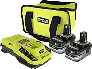 Ryobi P165 One+ Lithium Ion Battery and Charging Kit: Includes 2 x P191 3.0 AH 18V Batteries, 1 x P117 Charger, and 1 x Contractor's Bag