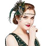 BABEYOND 1920s Flapper Feather Headband Roaring 20s Showgirl Gatsby Headpiece