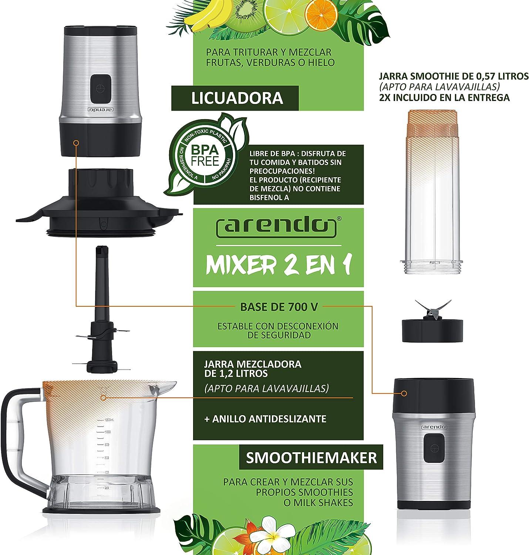 arendo - Batidora de Vaso 2en1 Mixer - Smoothiemaker - Capacidad 1 ...