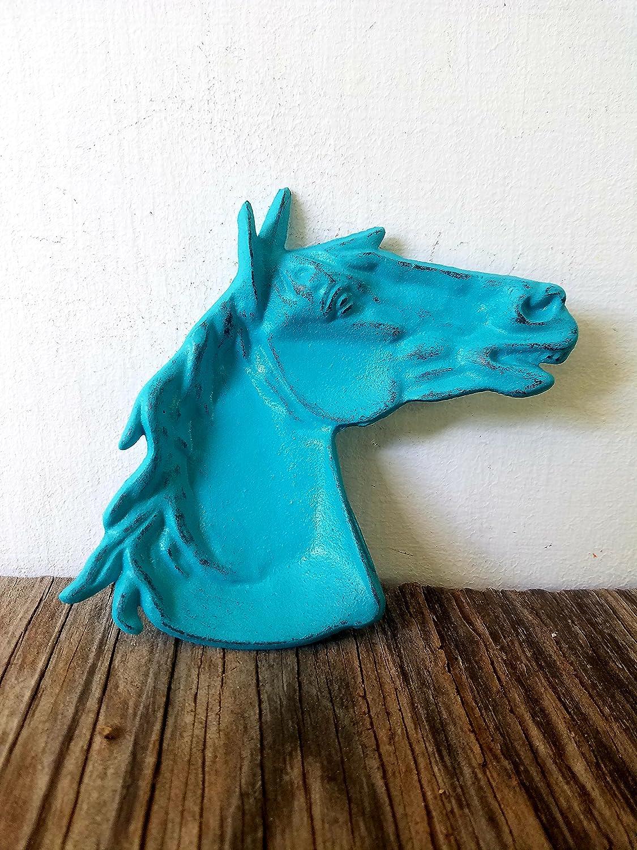 Turquoise Blue Southwestern Horse Trinket Dish – Men's Western Home Decor – Unique Rustic Office Organizer