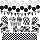 BeYumi 127Pack Race Car Checkered Party Supplies Decoration Kit|Including Banner Pennant, Balloons, Tablecloth…
