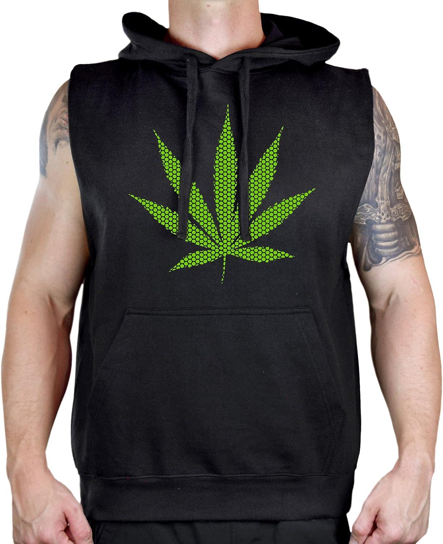 Mens Green Polka Dot Weed Leaf Sleeveless Vest Hoodie