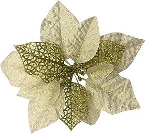 "Zabrina 12 Pcs 7.8"" Christmas Tree Decorative Silk Flower Gold Poinsettia Bush Poinsettia Christmas Tree Artificial Flowers Glitter Poinsettia Christmas Tree Ornaments Xmas Tree Flowers, Gold"