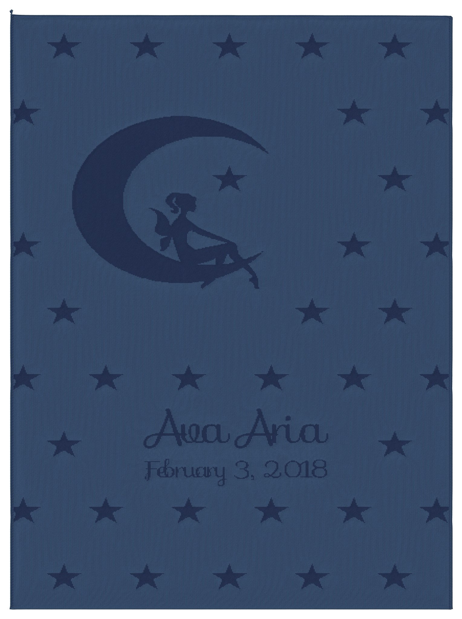 Emji Luxury Knit Baby Blanket with Fairy Stars, Customized Girl's Name Stroller Blanket, 100% Cashwool Merino Wool, Blue and Light Blue, Made in USA