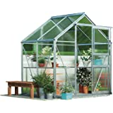 Polycarbonate Garden Greenhouse Large Walk-in Growhouse, Aluminuim Frame, Sliding Door Twin Wall Panels with Steel Base by Waltons (6x4, Silver)