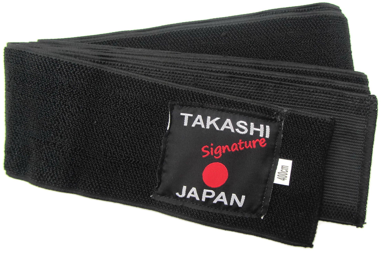 Elasticated- Flexi 'KURO' Obi Belt Iaido- KENDO, AIKIDO Black Belt Takashi Japan Signature Range - 400cm x 8cm Easy Comfortable Tie