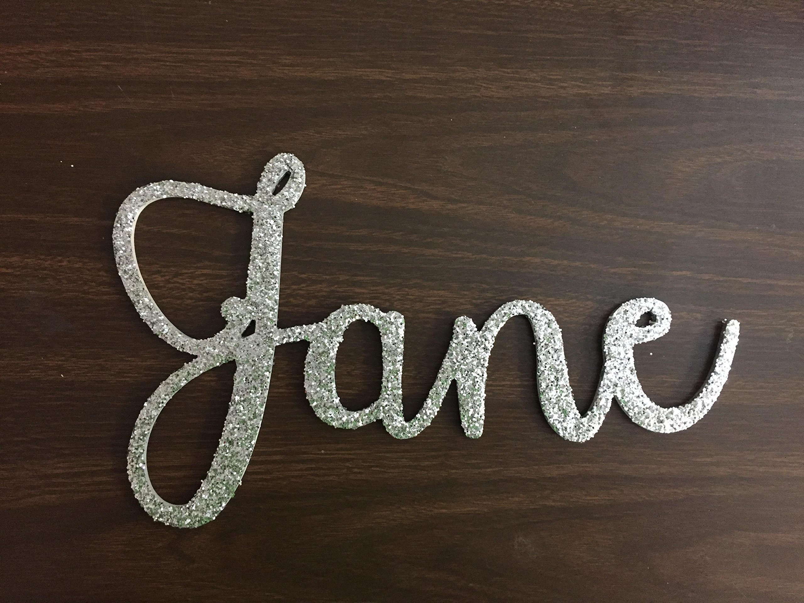 Custom Name Cursive Letter Sign 8''-12'' Tall, Baby Name Wall Art, Nursery Wall Art, Dorm Room Wall Art, Painted, Unpainted, Glitter Name Art, Janda Stylish Script Font Wood Letter Sign