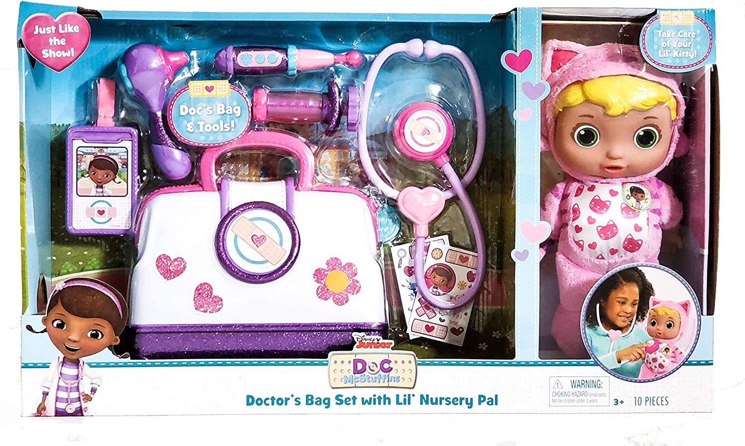Disney Junior Doc Mcstuffin Pet Rescue Doctor's Bag Set with Lil' Nursery Pal Playset (Kitty)