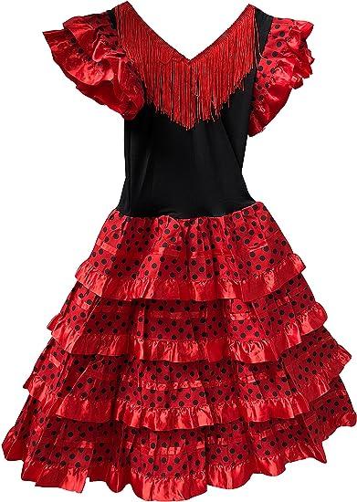 Vestido Flamenco Disfraz Sevillanas Rosa Rojo Topos Niño Niña ...