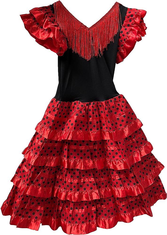 Vestido Flamenco Disfraz Sevillanas Rosa Rojo Topos (Rojo, 6-7 ...