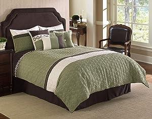 Riverbrook Home Fairmont Comforter Set, Queen, Green/White, 7 Piece
