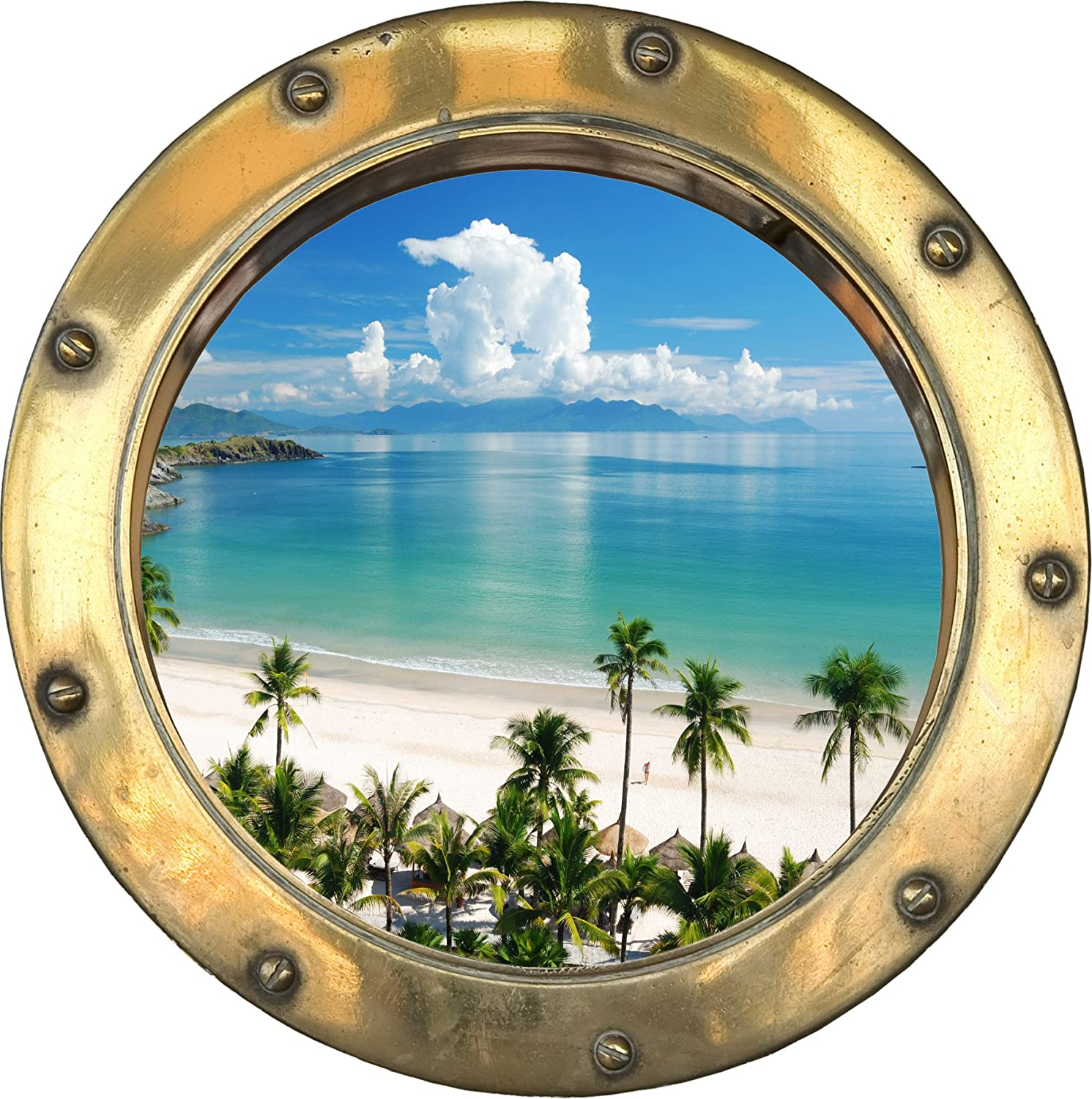 H313 Self Adhesive Sticker Optical Illusion Porthole Ship