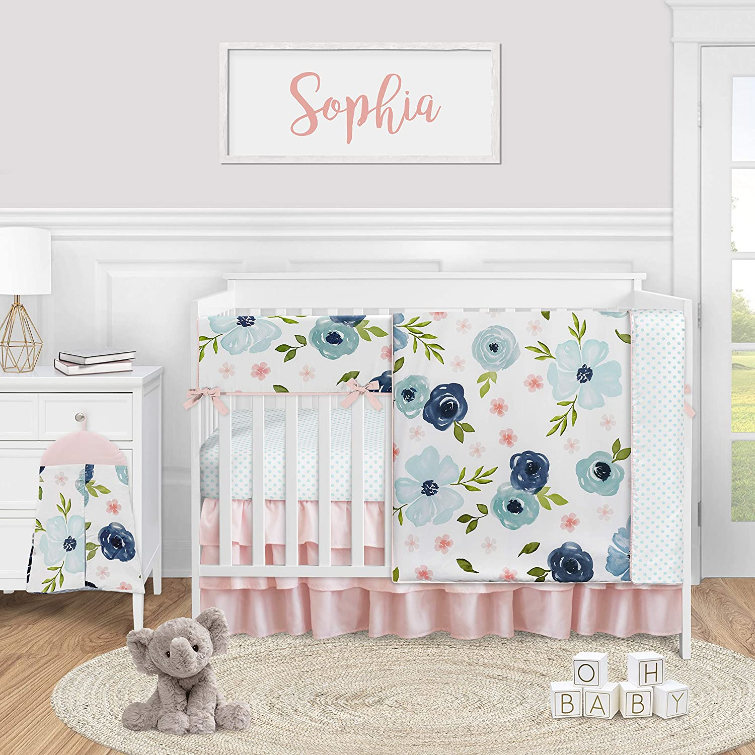 Sweet Jojo Designs Blue Watercolor Floral Baby Girl Nursery Crib Bedding Set - 5 Pieces - Blush Pink Navy Green and White Shabby Chic Rose Flower Polka Dot