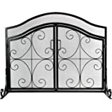 INNO STAGE Wrought Iron Fireplace Screen with 2 Doors, Large Decor Fire Place Panel Standing Gate with Mesh Cover for Baby Safe, Spark Guard and Wood Burning Hearth Accessories - Dark Black