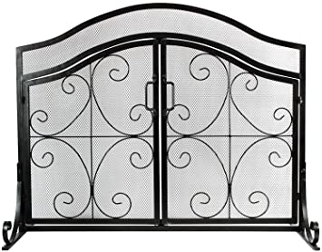 Inno Stage Wrought Iron Fireplace Screen With 2 Doors Large Decor Fire Place Panel Standing Gate With Mesh Cover For Baby Safe Spark Guard And Wood