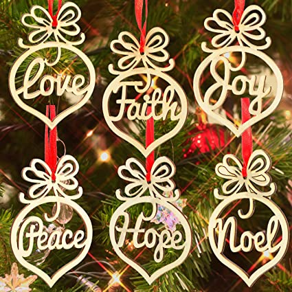 Bememo 18 Pack Christmas Decorations Wooden Hollow Letter Ornament Christmas Tree Hanging Pendant Decoration