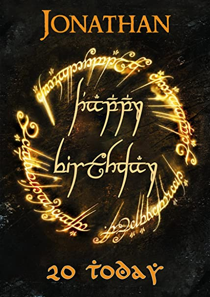 Lord Of The Rings Elven Elvish Style Birthday Card To Rule Them All Customized With Your Name And Age Amazoncouk Kitchen Home