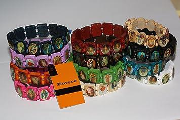 Armband aus Holz mit Heiligenbilder Christen Motiven Bettelarmband