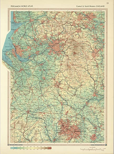 Amazon world atlas map central and northern england pergamon world atlas map central and northern england pergamon world atlas 1968 historic gumiabroncs Image collections