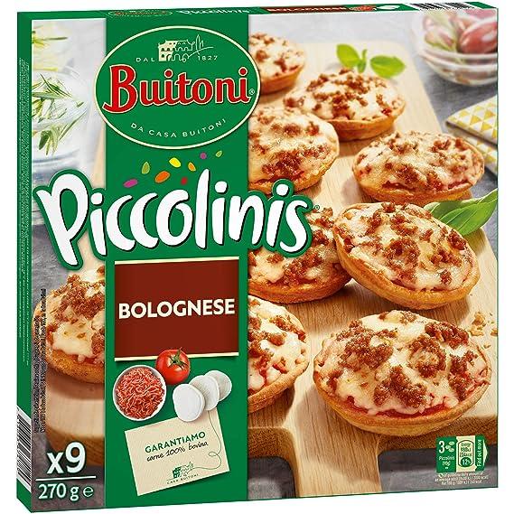 Buitoni Piccolinis Bolognesa - Mini Pizza Congelada con carne picada y salsa boloñesa - 9x30g