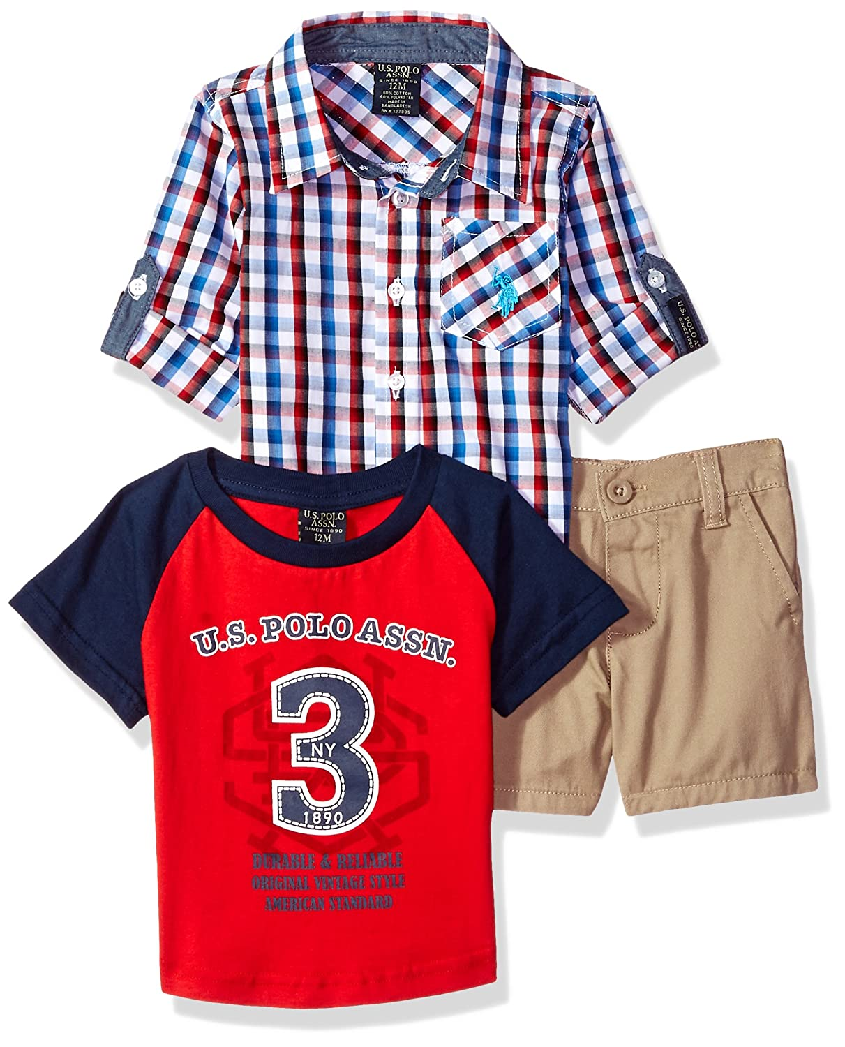 U.S. Polo Assn. Baby Boys Long Sleeve Woven, T-Shirt and Short Set