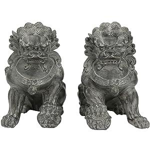 "Oriental Furniture 9"" Sitting Foo Dog Statues (Set of Two)(B)"