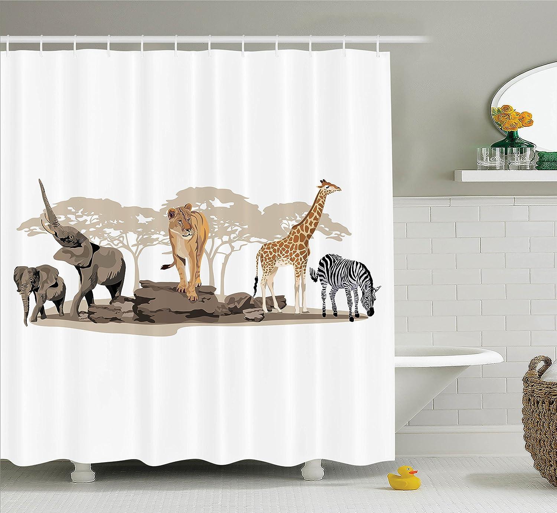 Amazon.com: Ambesonne Safari Decor Collection, Illustration of Wild ...