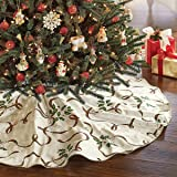 "Lenox Holiday Nouveau Ivory Christmas Tree Skirt Gold Plaid Ribbon Holly Berries 60"""
