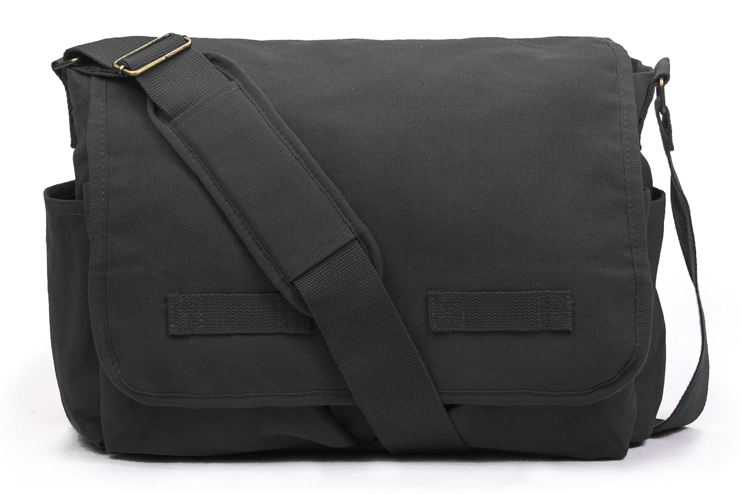 Sweetbriar Classic Messenger Bag - Vintage Canvas Shoulder, Black, Size Large by Sweetbriar