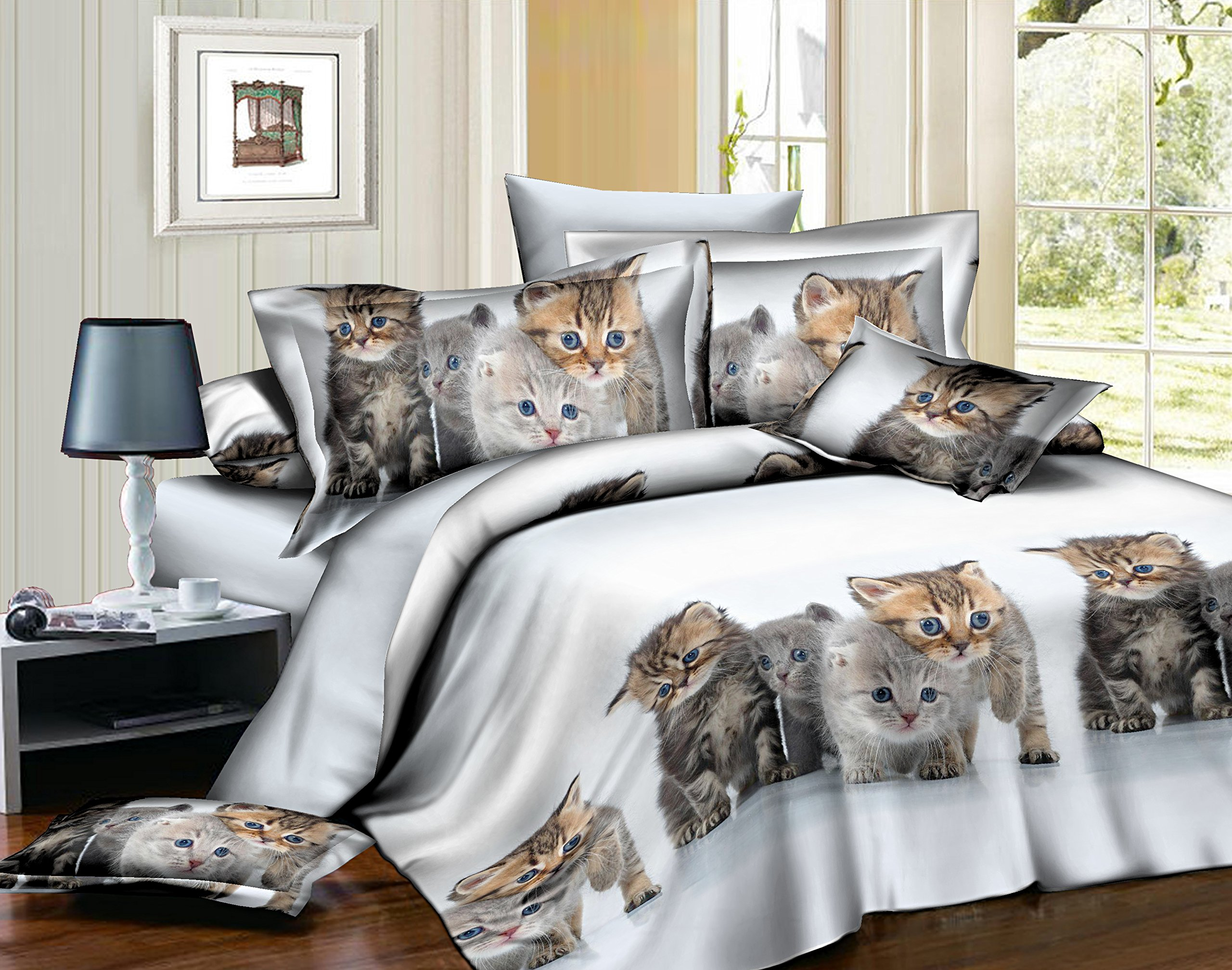 Longji Children 3D Cats pattern(There are Multiple repetition patterns like the picture) Bedding Sets Bed Set Duvet cover Bed sheet Pillowcase (Twin 2Pcs)