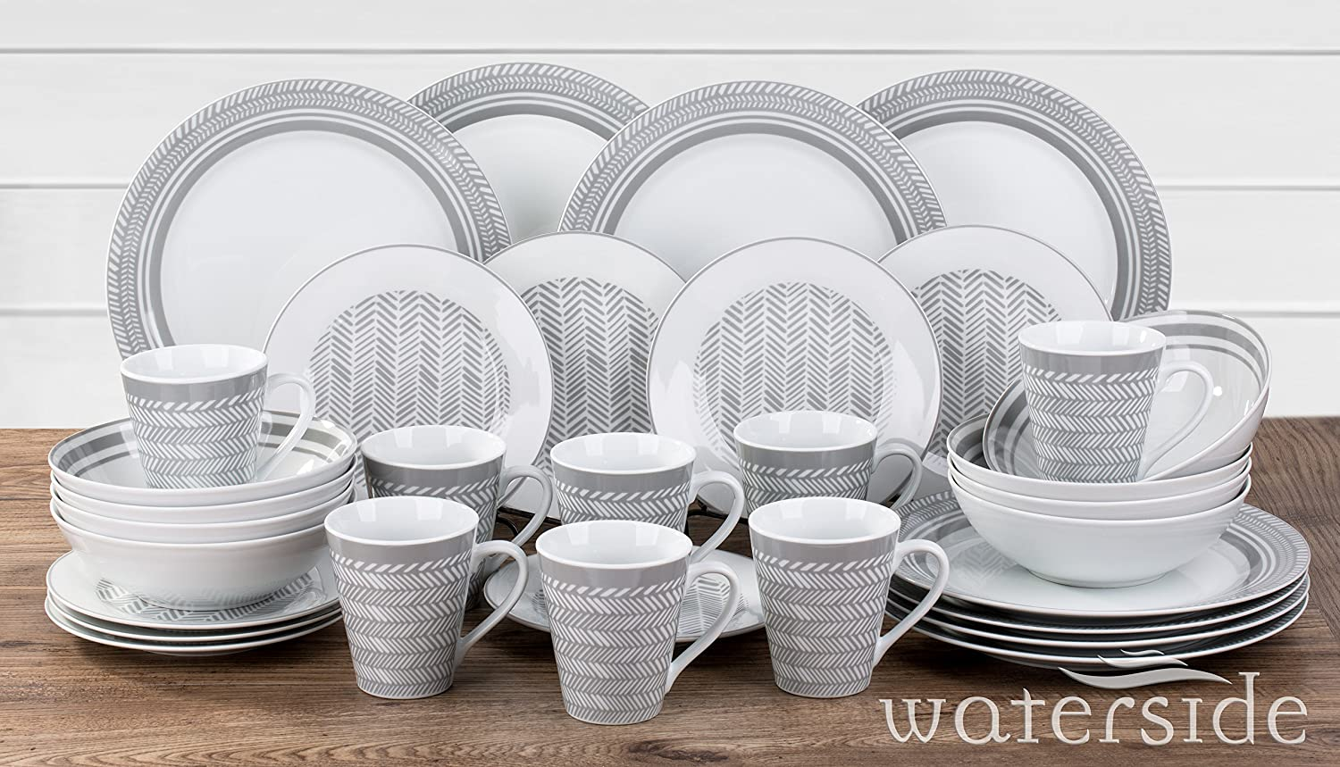 32 Piece Grey Herringbone Dinner Set Waterside Fine China