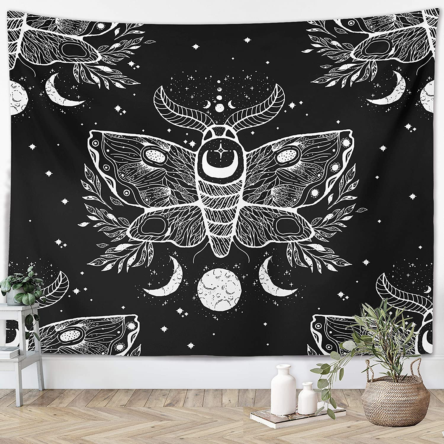 """Witchy Gothic Tapestry Witchcraft Wicca Mystical Moth Moon Skulls Spooky Magic Witch Kit Black White Wall Hanging Goth Dorm Decor Witch Wall Hanging for Bedroom Living Room (Black Moth, 51""""x59"""")"""