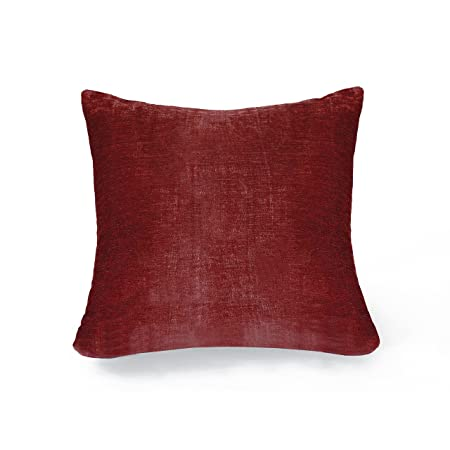 Elrene Home Fashions 26865901023 Decorative Solid Velvet Regal Couch Sofa Bed Cushion Pillow, 18 x 18 , Red
