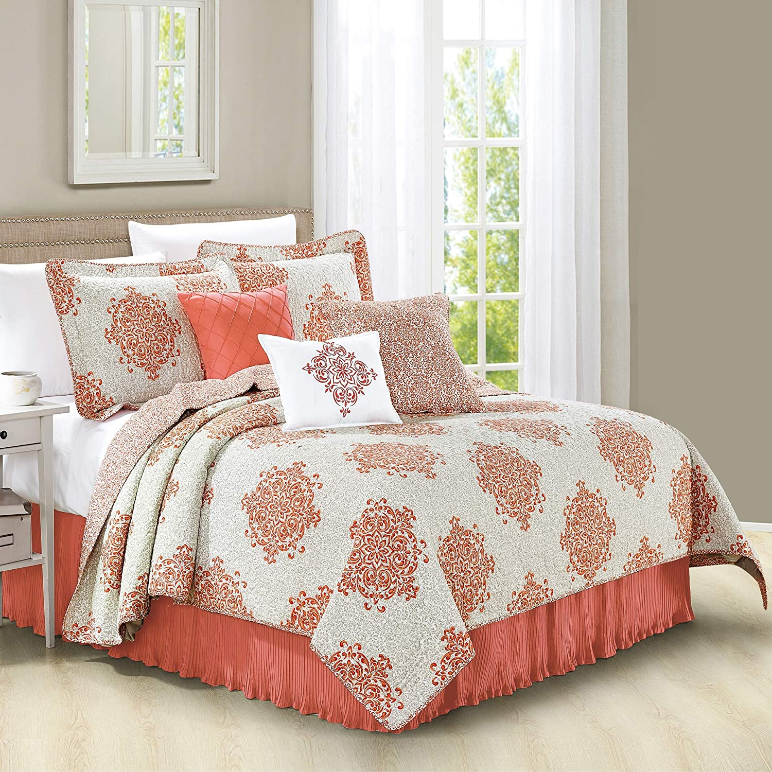 Home Soft Things Serenta 6 Piece Chelsea Printed Microfiber Quilts Coverlet Set, King, Coral