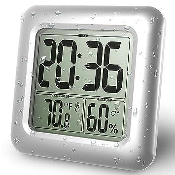 GuDoQi Reloj De Baño A Prueba De Agua LCD Digital Espejo De Pared Ventosa Temperatura De