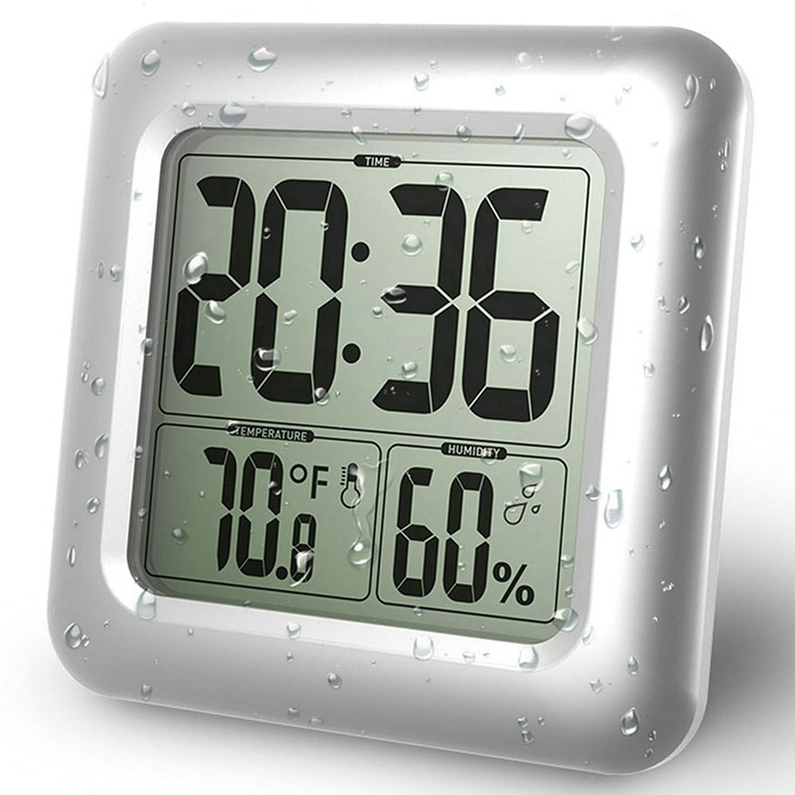 GuDoQi Waterproof Bathroom Clock LCD Digital Wall Mirror Suction Cup Kitchen Temperature Humidity Sensor Time Watch Shower Clock