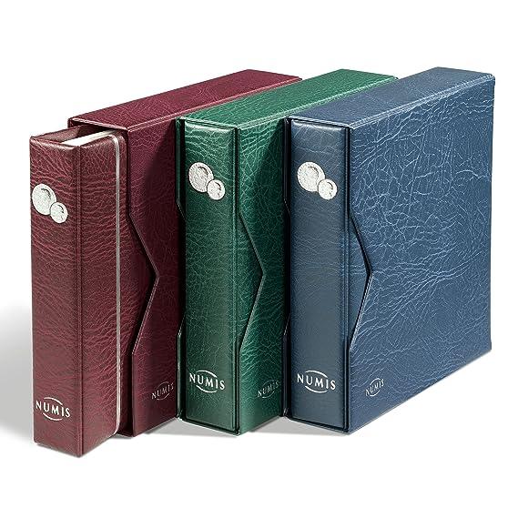 Leuchtturm 338787 Münzalbum NUMIS in blau mit Schutzkassette & 5 Hüllen für verschieden große Münzen | Für Münzen mit Ø 44, 3