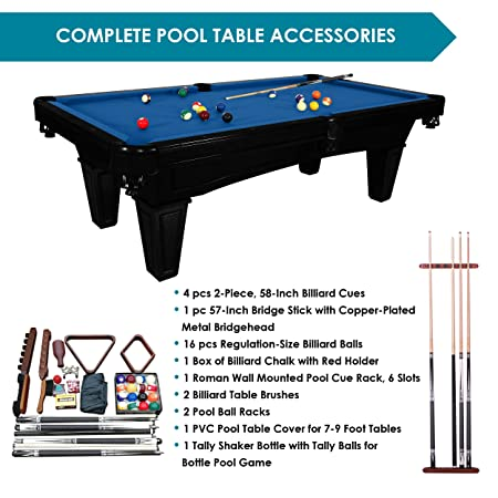 Amazon.com : Harvil Toscana Onyx Slate Pool Table 8 Foot With Blue Felt.  Includes On Site Delivery, Installation And Accessories : Sports U0026 Outdoors