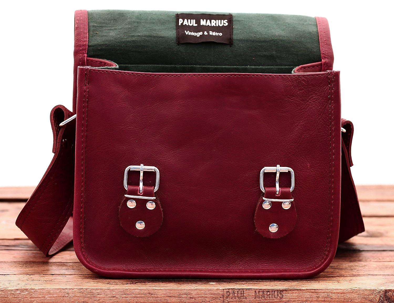 LA SACOCHE S besace en cuir souple couleur Bordeaux style Vintage PAUL MARIUS
