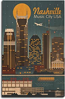 product image for Lantern Press Nashville, Tennesseee - Retro Skyline (10x15 Wood Wall Sign, Wall Decor Ready to Hang)