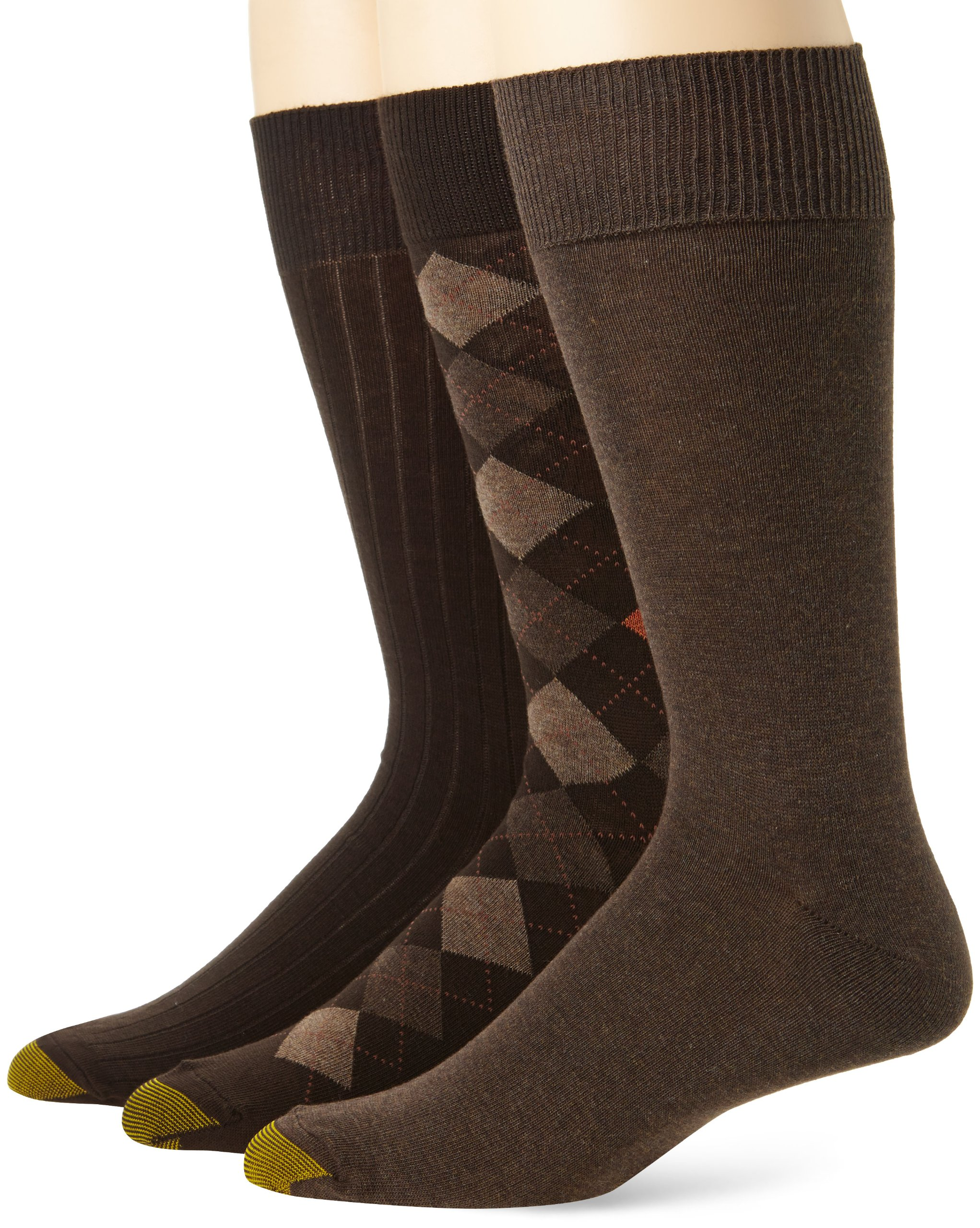 Gold Toe Men's Classic Argyle Sock, 3 Pack, Brown Diamond/Brown Heather Flat/Brown Rib,  6-12.5